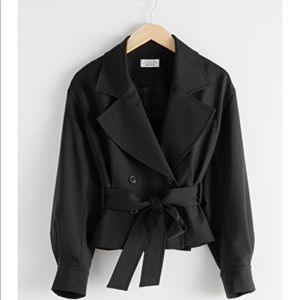 & Other Stories Belted Wool Blend Trench Jacket